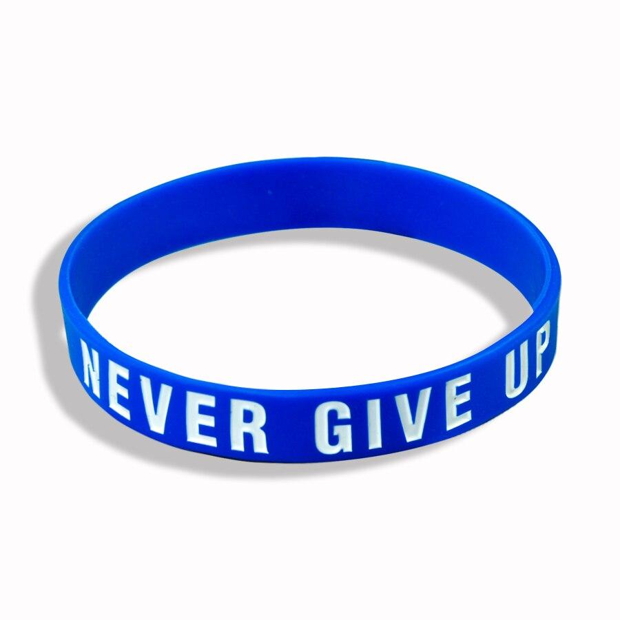 """Never Give Up"" Motivational Bracelet Inspirational Sports Rubber Band Elastic Inspirational Bracelets for Men Accessories 2"