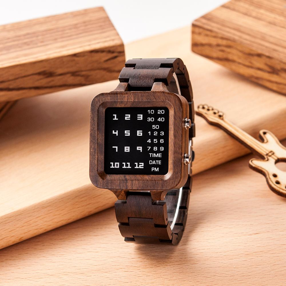 Reloj Hombre WOODme Wood Digital Watch For Men Top Brand Luxury Wrist Watches Gift Male Night Vision Unique Clock Dropshipping