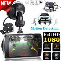 "Dual Lens Car DVR Vehicle Camera Full HD 1080P 4"" IPS Front Dash Cam Rear Night Vision Video Recorder G-sensor Parking Monitor"