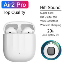 Air2 pro tws verdadeiro sem fio bluetooth fones de ouvido alta fidelidade 10d super bass fones esporte hd mic pk i5000 i9000 i10 i500 tws