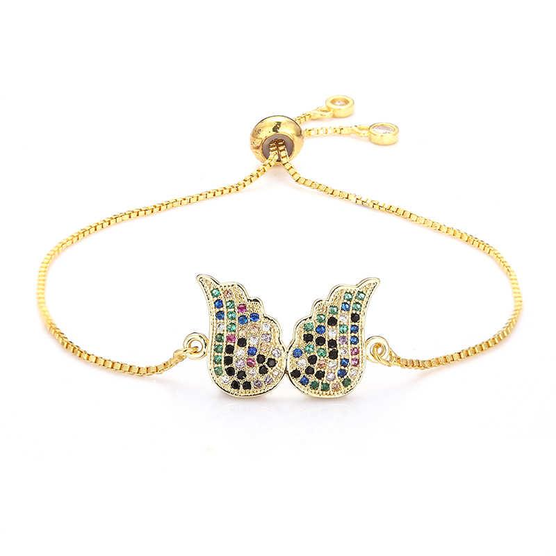 אופנה נשים של קשת כנפי צמידי תכשיטי זהב cz צבעוני זירקון צמיד צמיד מתכוונן שרשרת צמיד לנשים
