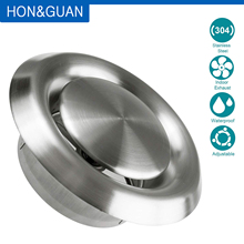 Hon&Guan Stainless Steel Vents, Round Stainless Steel Wall Cover Air Vents Bull Nosed External Extractor Outlet Vents 4 6