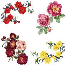 Belas rosas flores listras ferro em remendos calor-sensível ferro-em transferências para transferência de roupas roupa fusível personalizado