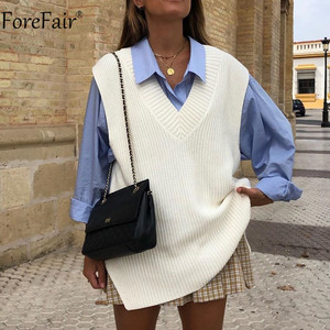 Forefair V Neck Sleeve White Knitted Autumn Winter Women Sweater Vests Casual Loose Outwear Solid Sweater Preppy Style Vests