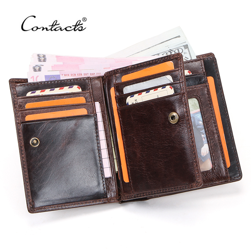 CONTACT'S 100% Genuine Leather Men Wallet Small Money Bags For Man Coin Purse Male Portfolio Portemonnee Card Holder Short Walet