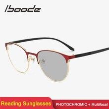 Iboode многофокальная прогрессивная фотохромная солнцезащитные очки для чтения для женщин и мужчин, металлические очки для пресбиопии, диоптрий + 1,0 1,5 2,0 2,5