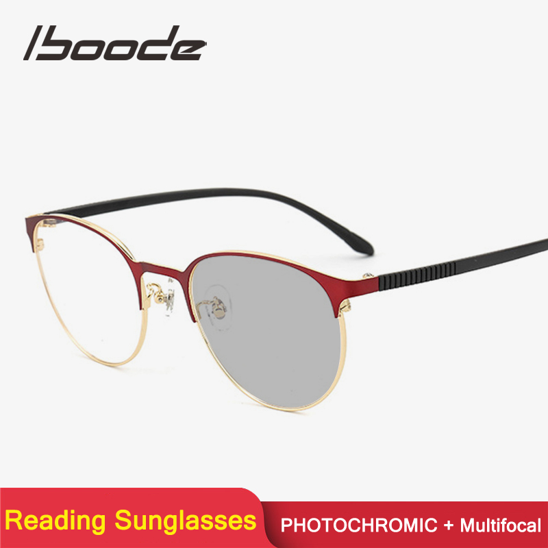 Iboode Multifocal Progressive Photochromic Reading Sun Glasses Women Men Metal Presbyopia Sunglasses Diopter +1.0 1.5 2.0 2.5