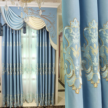 Luxury blue embroidered blackout curtains for bedroom  Window Curtains for Living Room Elegant Drapes European Curtains european style villa luxury embroidered living room decorated bay window curtains high end bedroom floor curtains luxury drapes