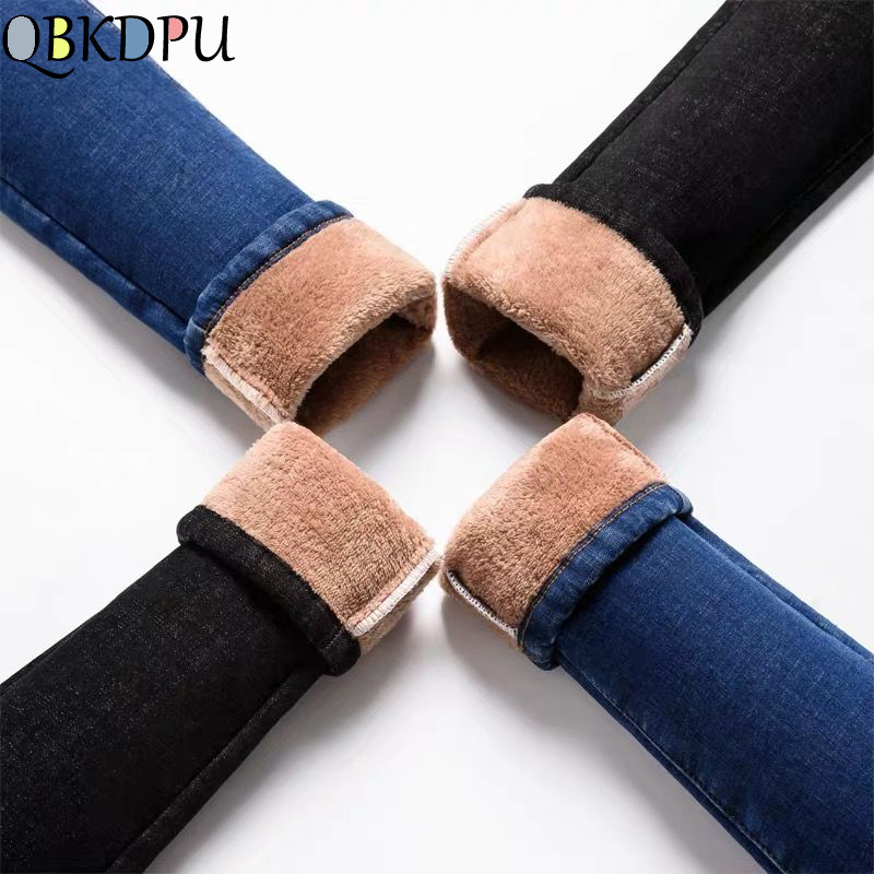 Mom Plus Size Velvet Warm Elastic Slim Jeans Women 2019 Winter New High Waist Pants Ladies Thicken Denim Long Trouser Streetwear