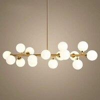 Modern long glass ball magic bean pendant lamp living room restaurant wrought iron Hanging light AC110 240V