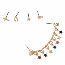 2019 S/S HOT SUMMER NEW ARRIVAL LOVELY GOLD COLOR PLATING COLORFUL STAR TWO HOLE LINKED STUD EARRINGS FOR WOMEN GIRLY UNIQUE