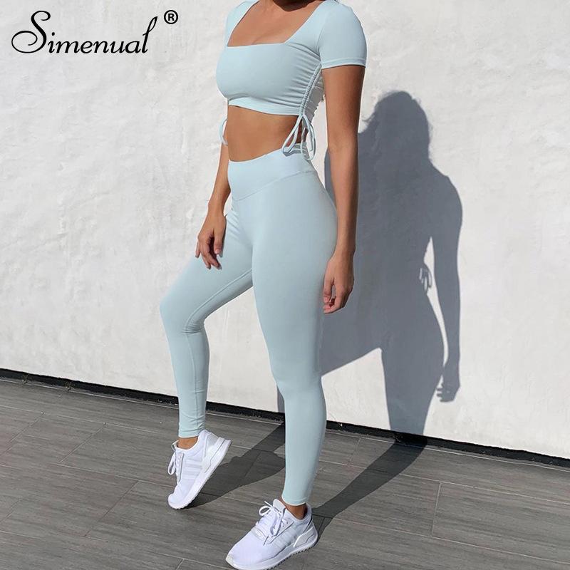 Simenual Sportswear Fitness Workout Two Piece Sets Women Short Sleeve Drawstring Tracksuits Ruched Push Up Top And Leggings Set