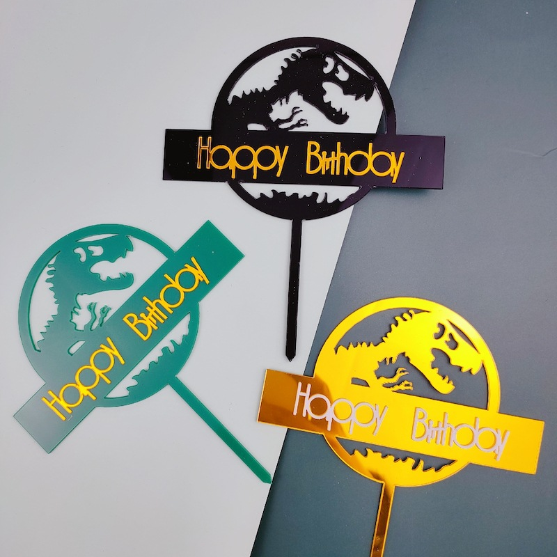 Dinosaur Theme Cake Topper Acrylic Golden Happy Birthday Cake flags High-end birthday Cupcake Toppers Kids Party Cake Decoration