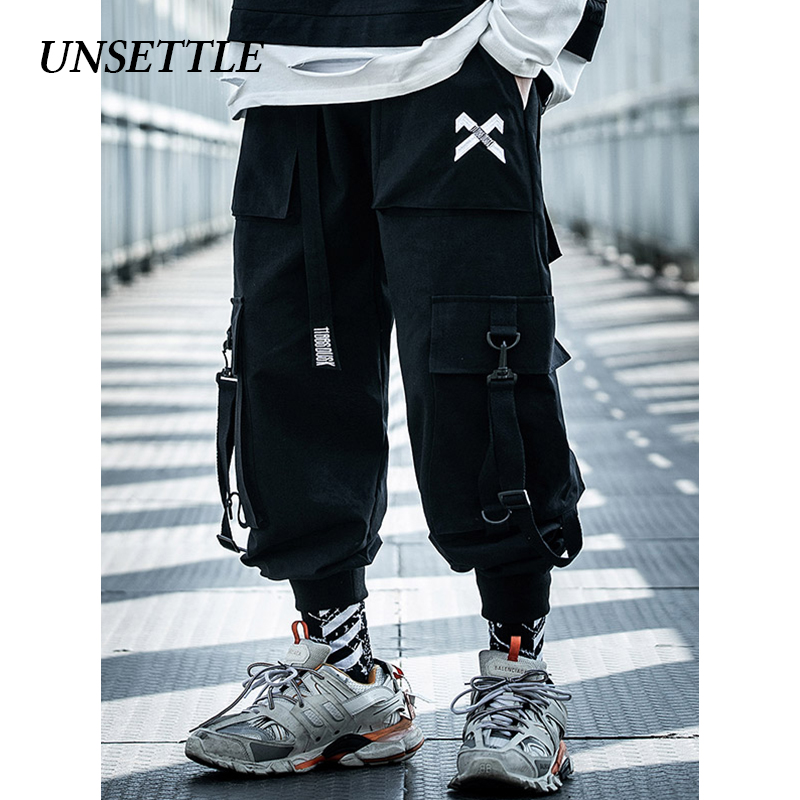 UNSETTLE 2020SS Japanese Military Male Black Joggers Mens Hip Hop Pockets Ankel Cargo Pants Men Streetwear Pants Casual Overalls
