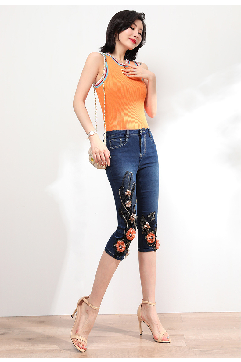 KSTUN FERZIGE Women Jeans Shorts High Waist Stretch Dark Blue Beaded Flowers Mom Jeans Push Up Sexy Short Pants Summer Mujer Jeans 36 16