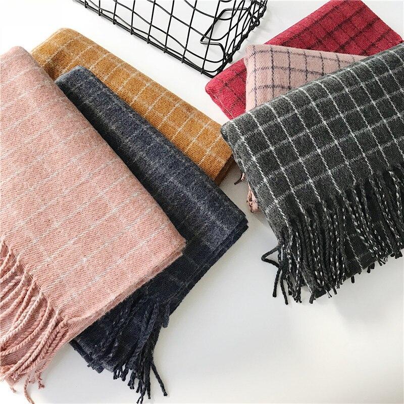 2019 зимние кашемировые шарфы с кисточками, плотное теплое пончо, шерстяной клетчатый шарф с принтом для женщин, модные шали и палантины для