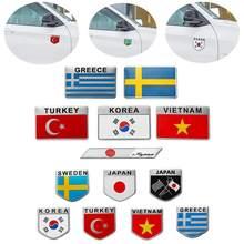 Алюминиевый Сплав 3D авто стикер наклейка Турция Швеция Греция Корея Вьетнам Япония флаг наклейка эмблема значок