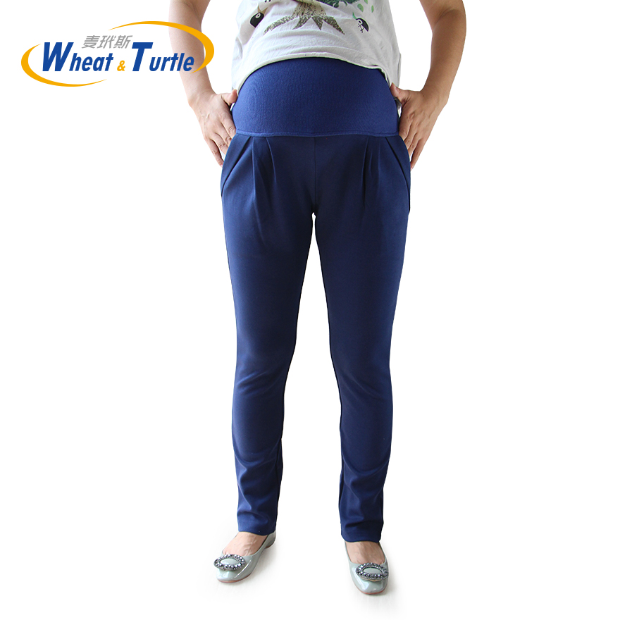 2020 Hot Sale All Match All Season Navy Maternity Capris Good Quality Comfortable Cotton Casual Harlan Pants For Pregnant Women