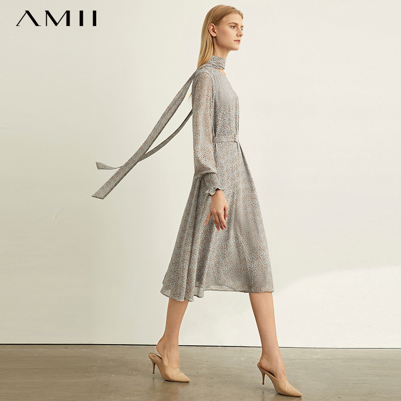 Amii Very Simple Little Red Temperament Dress Spring New Loose Belt Printing Dress 11940512