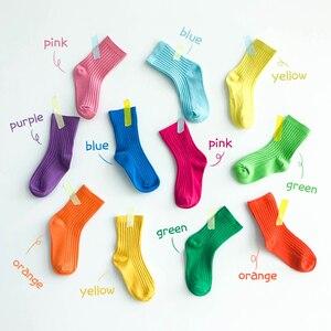 Image 1 - Wysokiej jakości bawełniane skarpetki dla dziewczynek kolorowe dziecięce długie skarpetki dla niemowląt dla dziewczynek niemowlęce skarpetki dla chłopca cukierki kolor 1 8y