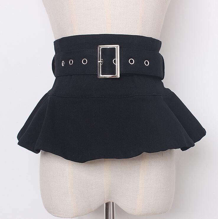 Women's Runway Fashion Black Fabric Cummerbunds Female Dress Corsets Waistband Belts Decoration Wide Belt R2866