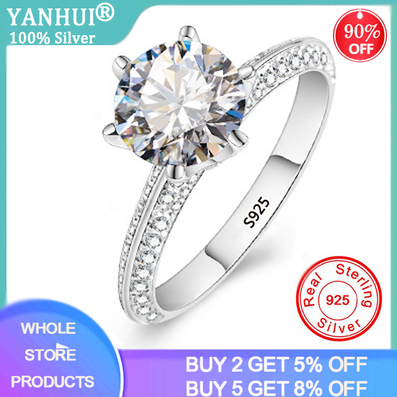 YANHUI Luxury 2.0ct Lab Diamond Wedding Engagement Rings for Bride 100% Real 925 Sterling Silver Rings Women Fine Jewelry RX279(China)