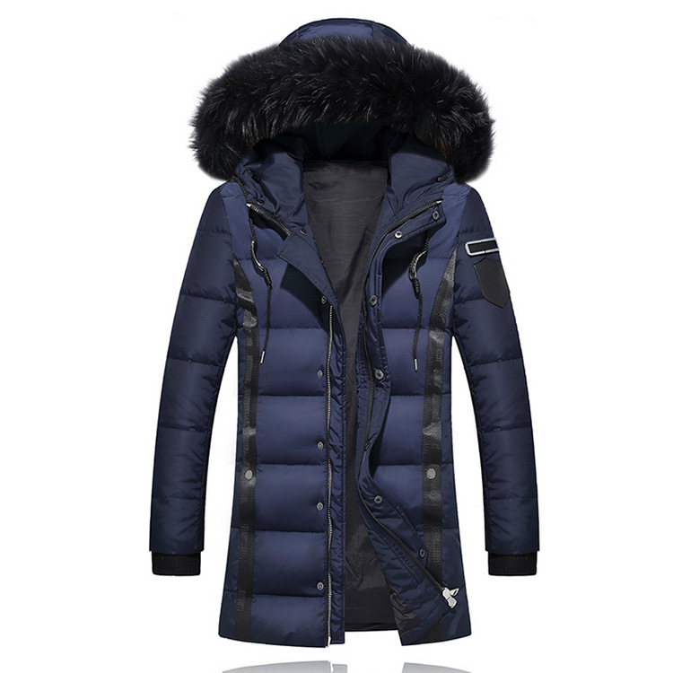 Winter Men Thick Fur Designer Coats Warm Windbreaker Hooed Long Solid Down Jackets 2