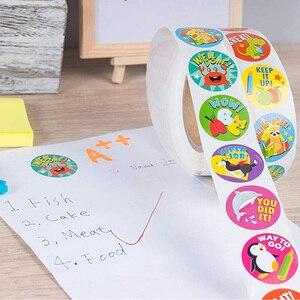 Image 4 - 500 stücke Kinder Aufkleber Ermutigung Aufkleber Rolle für Kinder Motivations Runde Aufkleber mit Niedlichen Tiere für Zurück Zu Schule