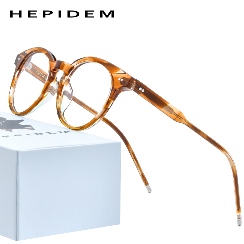 HEPIDEM Acetate Optical Glasses Frame Women 2020 New Vintage Round Eyeglasses Men Myopia Prescription Spectacles Eyewear 9127