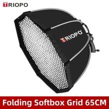 Triopo ks65 cm speedlite guarda chuva portátil, com favo de mel, grade externa, caixa macia para canon, nikon, godox