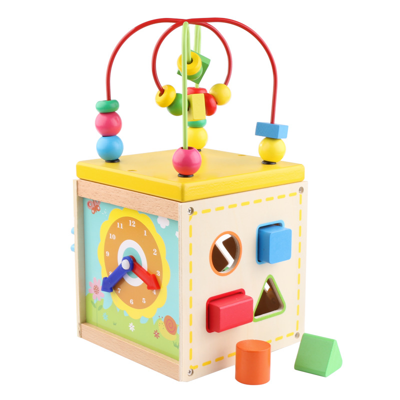 Children's Wooden Toys Multi-function Round Beads Baby Beaded Baby Wooden Building Blocks Shape Matching Educational Toys Gift