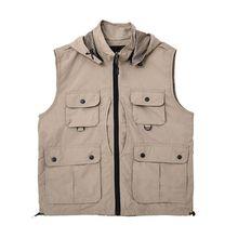 Повседневная рыболовная жилетка с капюшоном, многофункциональная, тепловая, солнцезащитная, дышащая, куртка на молнии, жилет, уличная, для фотосъемки, спортивная одежда