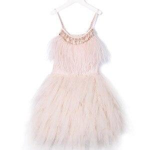 Image 2 - Fashion Feather Tassels Girls Dress 2 10 yrs Girl Wedding Party Dresses Kids Princess Dress Birthday Costume Childrens Clothing