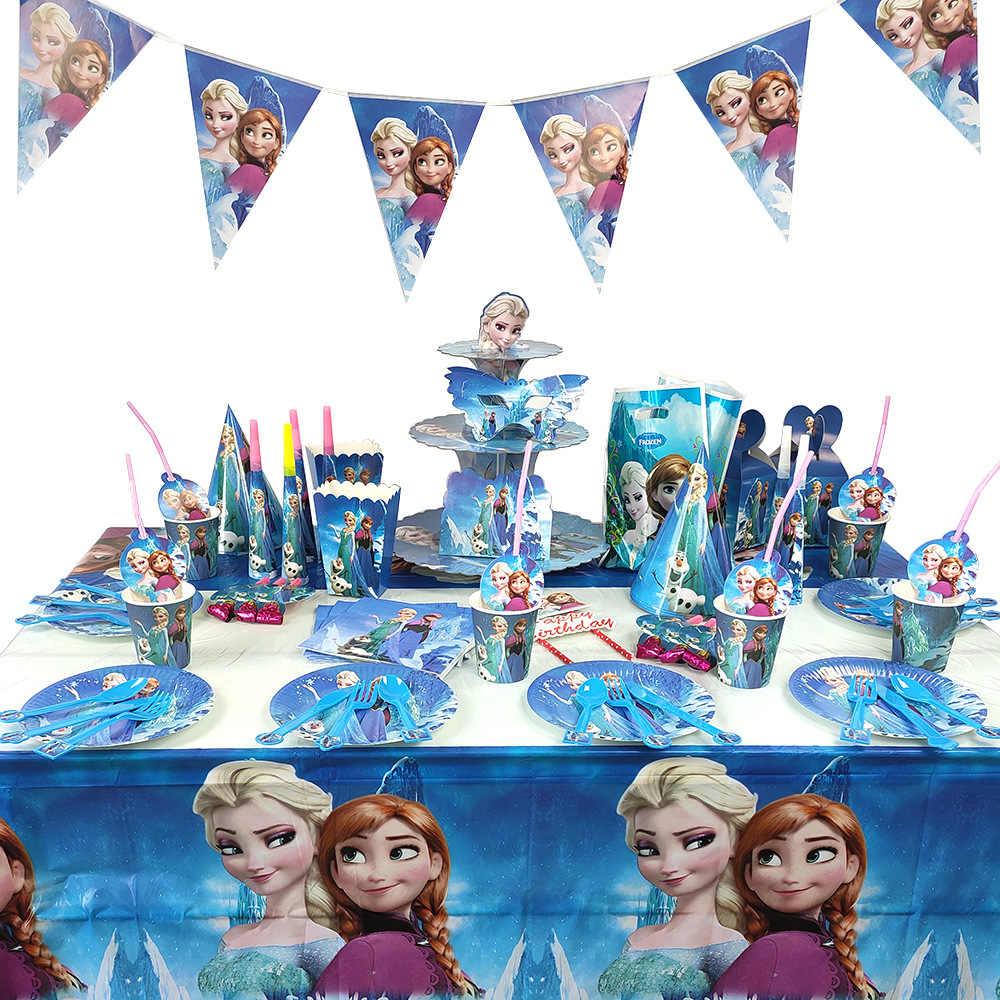 Bevroren Thema Elsa Anna Prinses Feestartikelen Kids Favor Verjaardagsfeestje Decoraties Papier Plaat Tafelkleed Ballon Baby Shower
