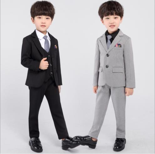 Boys slim fit suit khaki formal wedding Christmas Holiday set long tie vest pant