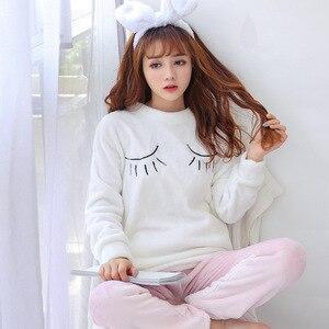 Image 3 - 2020 herbst Winter Frauen Pyjamas Set Schlaf Jacke Hose Nachtwäsche Warme Nachthemd Weibliche Cartoon Bär Tier Hosen Nachtwäsche