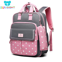 SUN EIGHT Dot Girl School plecaki torby szkolne dla dziewczynek plecak dla dzieci plecak dla dzieci torba dla dzieci Mochila Escolar tanie tanio Poliester zipper 2712 Patchwork 30cm Unisex 15cm Nylon 40cm 0 9kg 2019 04