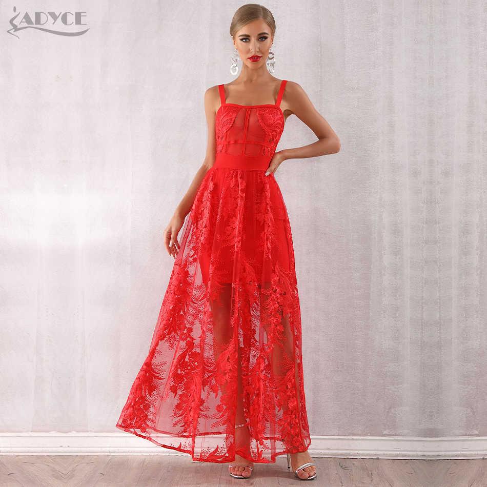 Adyce 2019 новое поступление женское красное сексуальное облегающее платье на бретельках кружевное Макси платье без рукавов платье знаменитостей