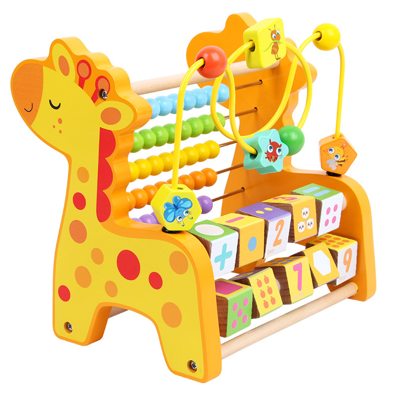 Children Multi-functional ENLIGHTEN Calculation Wooden Toy Early Education Turning Plate Bead-stringing Toy Educational Rack Non