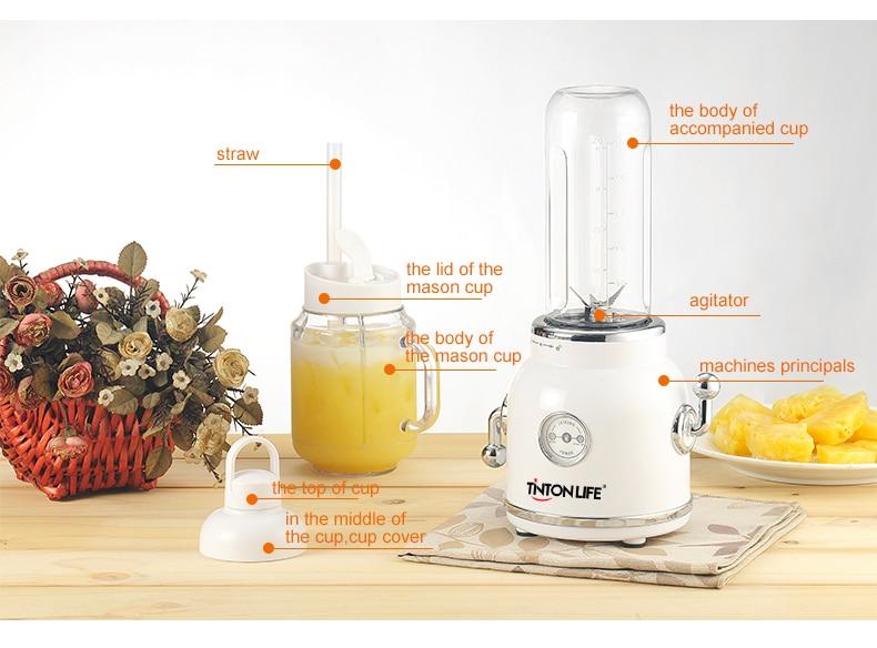 Hafb80d7879474471928b98323da68309K TINTONLIFE 220V Juicer Electric Multifunction Juice Blender Fruit Vegetables Food Maker With 550ml/600ml Portable Juice Cup