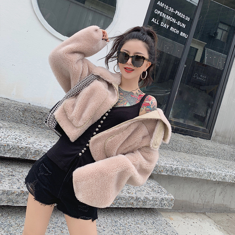 Coat Fur Real 2020 Autumn Winter Jacket Women 100% Real Wool Coat Female Cashmere Korean Jackets Chaqueta Mujer MY3619 S