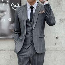 Мужской костюм в полоску корейский Тонкий деловой высокое качество