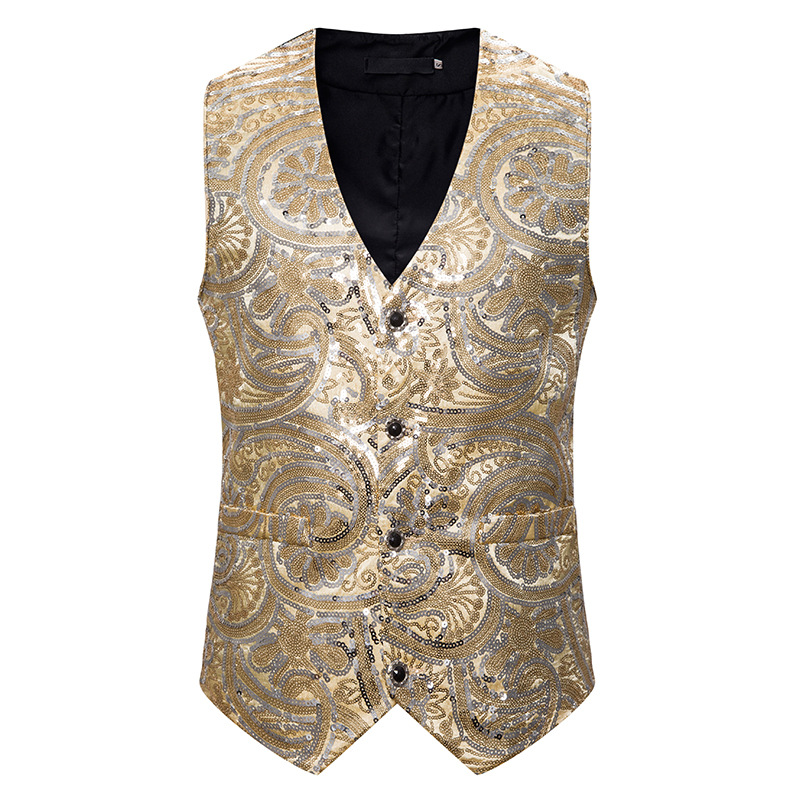 Men's Classic Party Wedding Suit Vest Hipster Gold Sequins Dress Vests Waistcoat Men DJ Nightclub Dance Prom Vest Men Chalecos