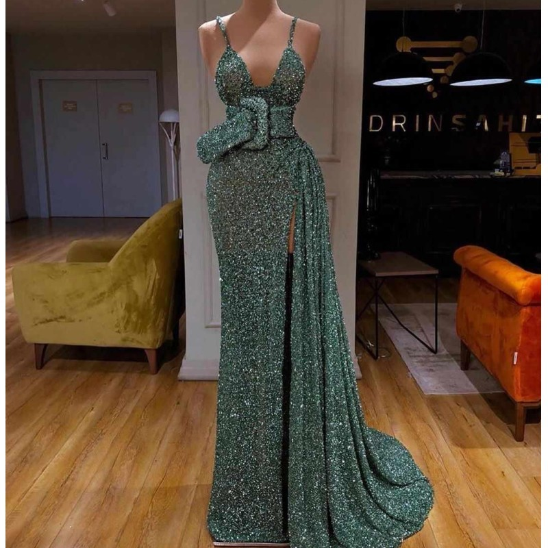 Shinning Sequined Prom Dresses With Spaghetti Straps High Side Split Evening Dress Sweep Train Cheap Party Gowns robe de soiree
