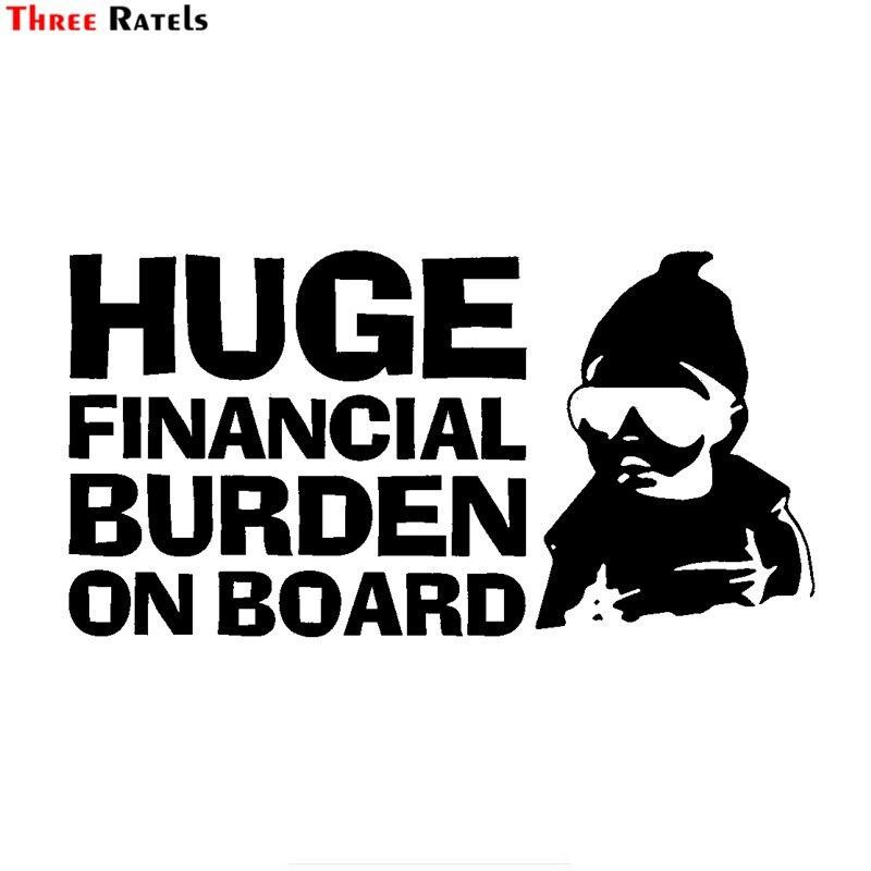 Three Ratels FTZ-26# 20x10.9cm Huge Financial Burden On Board Funny Baby Carlos JDM Vinyl Car Sticker|Cars Trucks Vans Walls