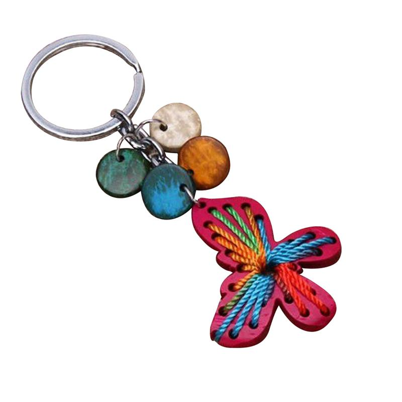 Handmade Hanging Key Ring Ornament Coconut Shell Keychain Creative Keychain Decor (Random Color, Random Style)