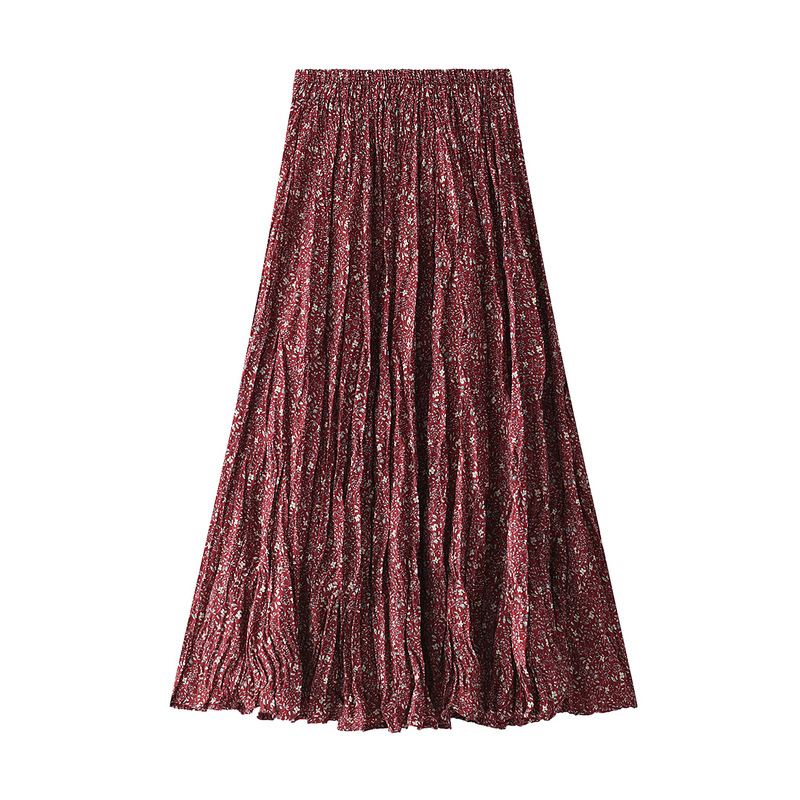 Pleated Midi Skirt Female Skirts Korean 2020 Spring And Summer Adjustable-Waist Mid-Calf A-Line Lady Long Floral Skirt Women