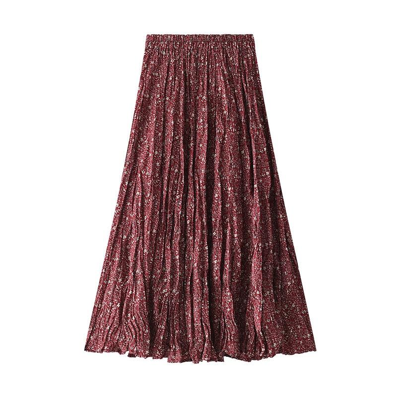 Pleated Midi Skirt Female Skirts Korean 2020 Spring And Summer Adjustable-Waist Mid-Calf A-Line Lady Long Floral Skirt Women
