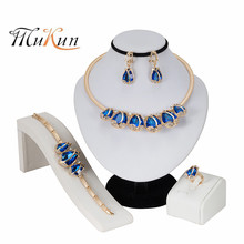 MUKUN 2019 new Wedding Dress Jewelry Sets for Charm of Women Blue Necklace Earrings Chain Party Gift Drop Shipping