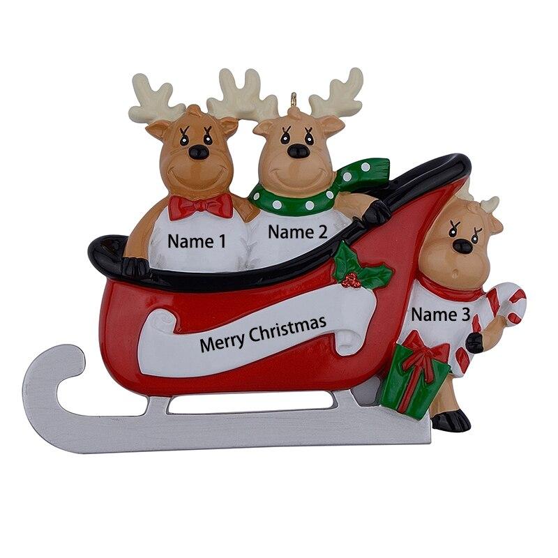 Pryskyřice Sobí Rodina Sáně Rodina ze 3 vánočních ozdob Personalizované dárky Napište vlastní jméno pro sváteční nebo domácí výzdobu